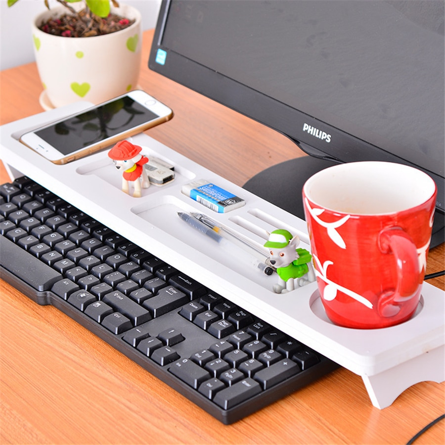Soporte de escritorio multifunción para teclado de ordenador, papelería, lápiz, artículos de papelería, organizador de artículos diversos para teléfono, suministros para oficina y hogar
