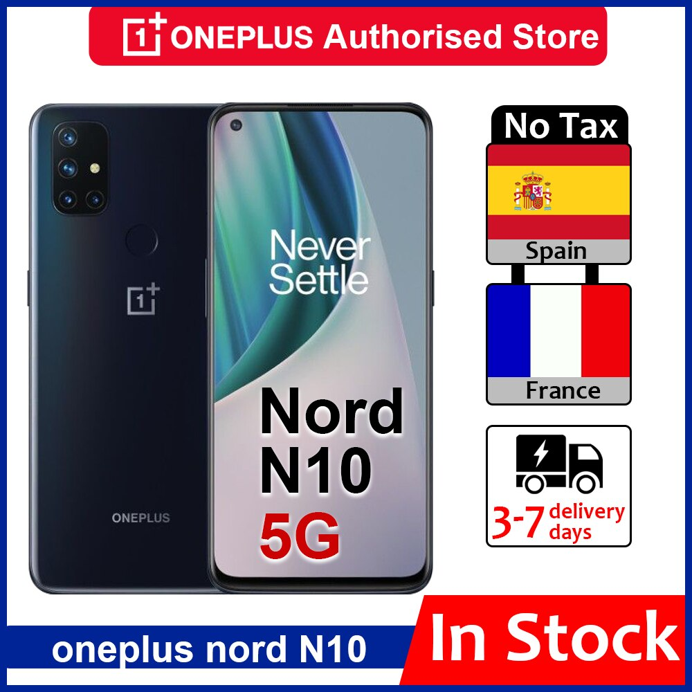 Перейти на Алиэкспресс и купить Глобальная версия OnePlus Nord N10 5G Смартфон Snapdragon 690 Android 10,0 90 Гц Дисплей 64MP Quad камеры Warp 30T NFC мобильный телефон