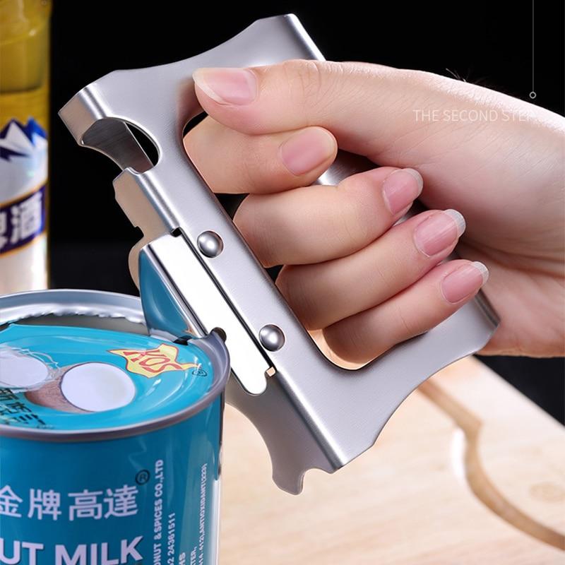 Abridor de latas multifuncional de acero inoxidable, herramienta de cocina pequeña para...