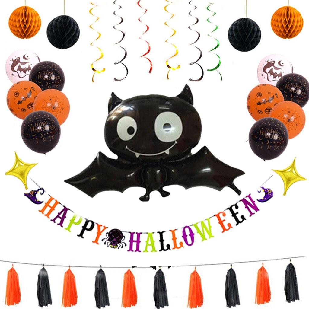 2020 feliz Halloween globos de letras de papel aluminio calabaza fantasma tratar caja Bat Cake Topper chimenea bufanda decoraciones de fiesta de Halloween