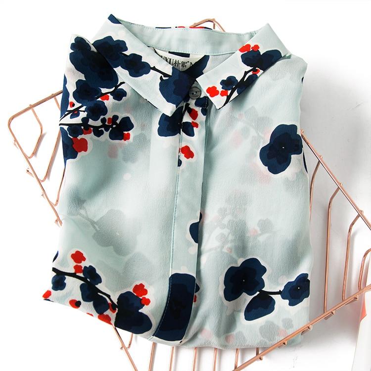 Elegant silk light blue plum blossom Lapel dark placket long sleeve shirt blouse for women Office Lady New Fashion Blouse v placket curved dip hem blouse