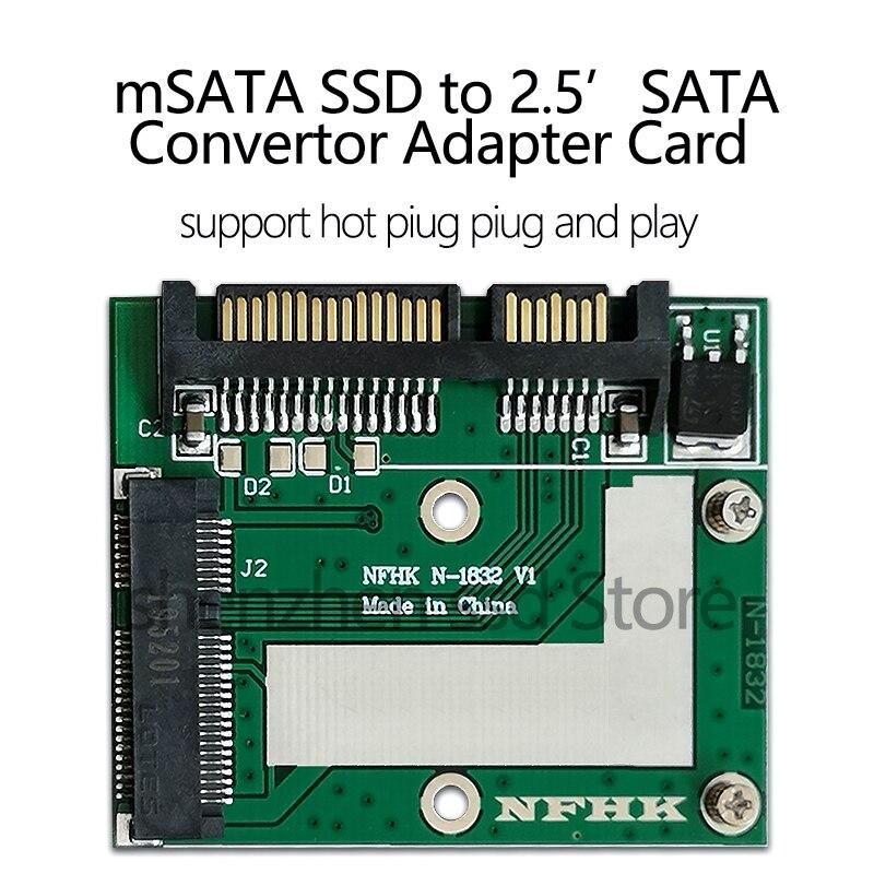 Universal mSATA Mini SSD to 2.5 inch SATA 22-Pin Converter Adapter card for Windows2000/XP/7/8/10/Vista Linux Mac 10 OS New