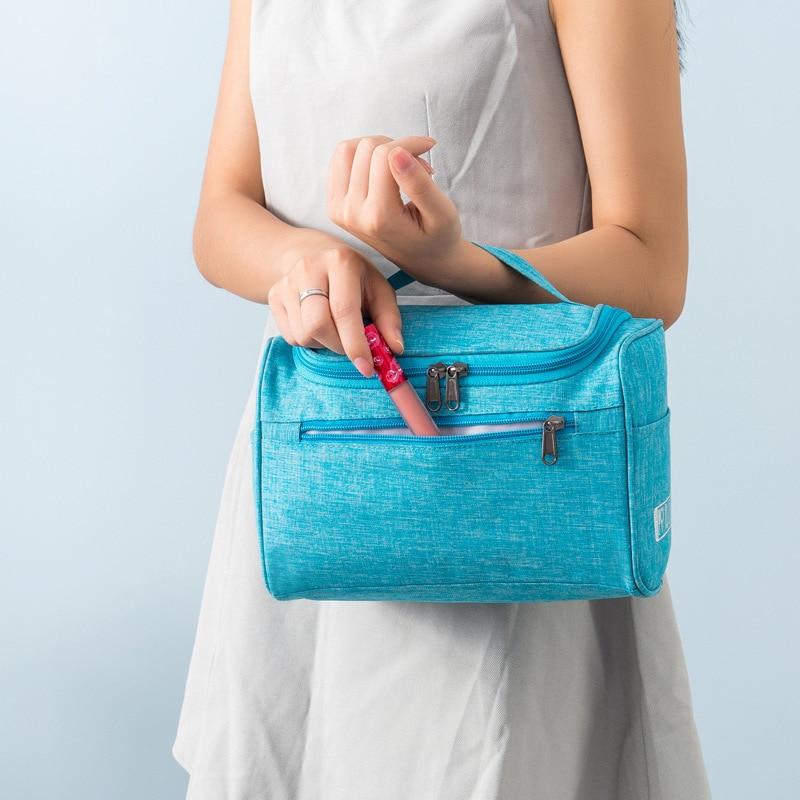 Bolsa de cosméticos con gancho de marca, bolsas de maquillaje para mujer, bolsas organizadoras de viaje, bolsa portátil, funda de cosméticos de belleza