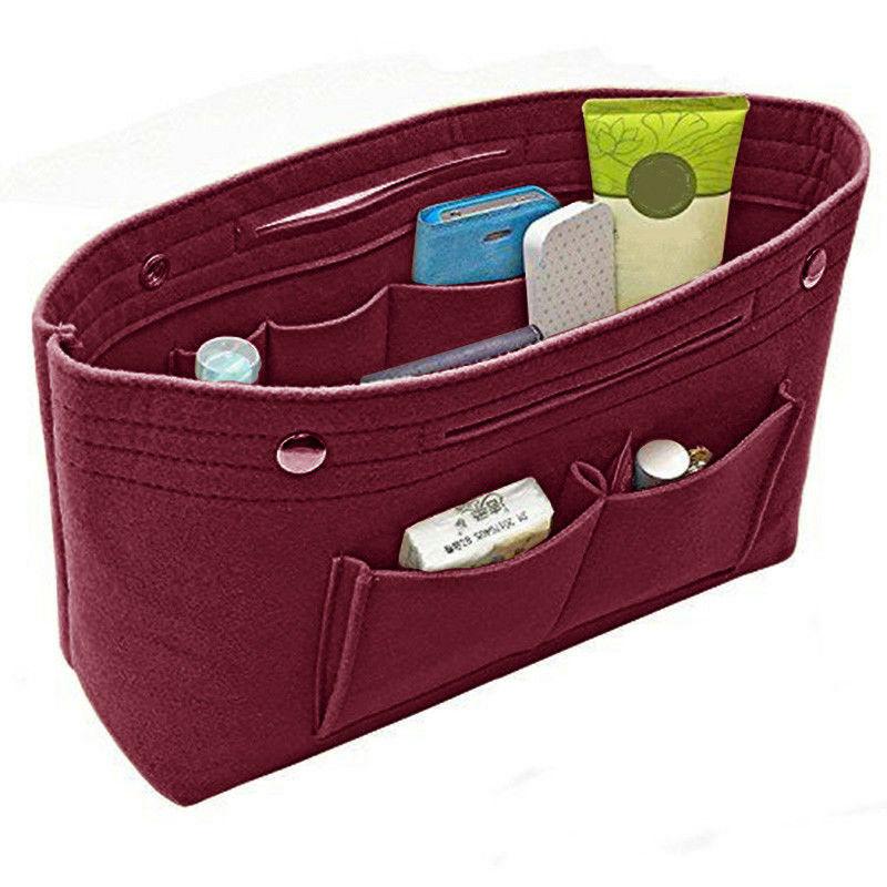Women Girl Portable Felt Fabric Purse Solid Color Handbag Organizer Bag Multi Pocket Insert