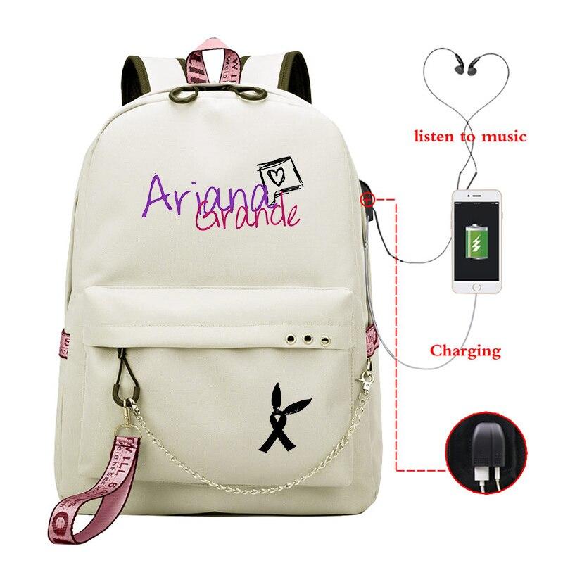 Mochila escolar informal con estampado de Ariana Grande, mochila de carga USB para chicas, mochila para portátil de uso diario para adolescentes, mochila divertida para estudiantes universitarios