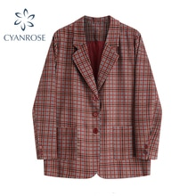 Vintage Casual Plaid Blazer Women 2020 Autumn Winter Fashion Notched Collar Long Sleeve Female Outer