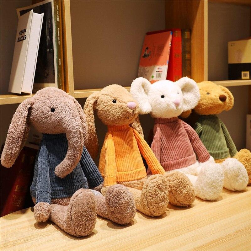 55cm Linda muñeca de mascota animal conejo elefante ratón juguete de peluche bebé relajante compañía dormir muñeca regalo del Día de los niños