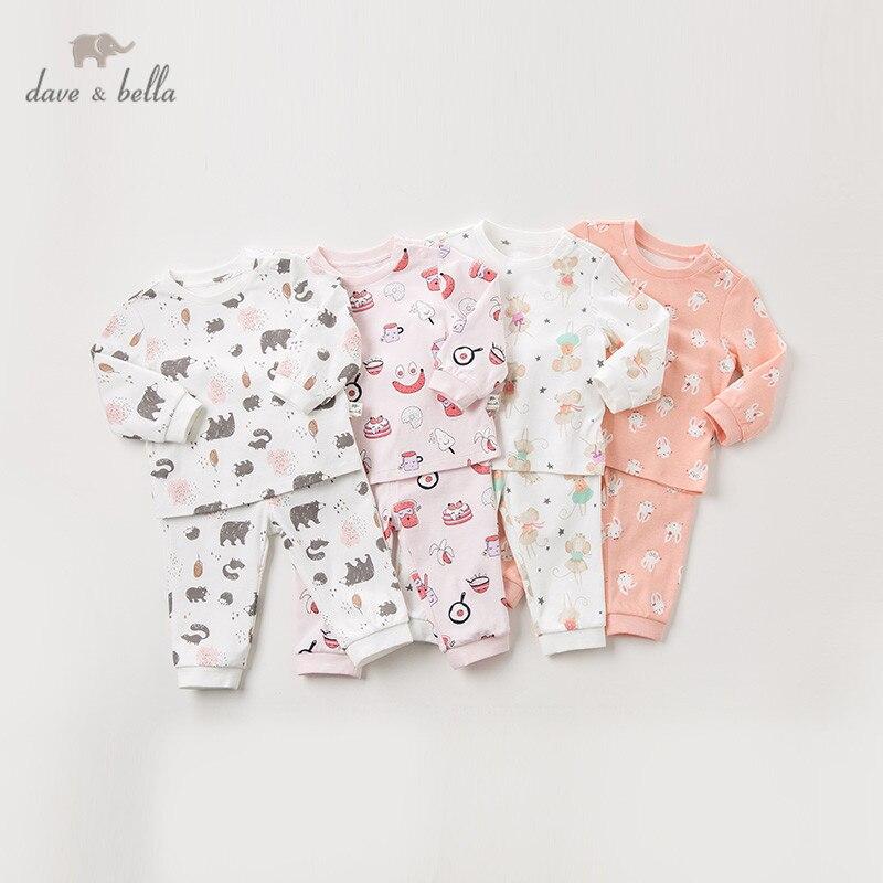 DB12190 David bella otoño bebé niñas pijamas de dibujos animados de moda ropa interior de bebé recién nacido ropa de dormir casual 2 piezas traje