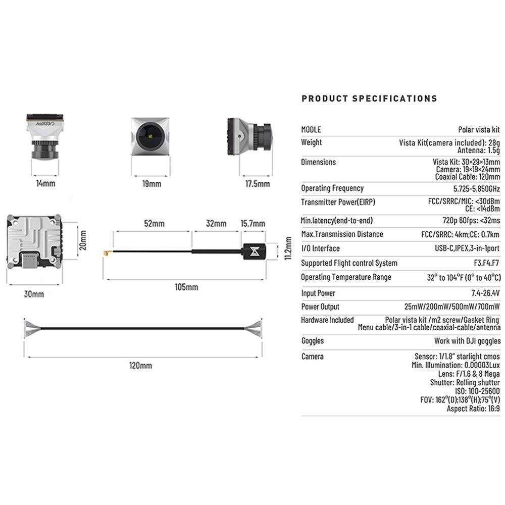 Caddx Polar Vista Kit F/1.6 Large Aperture Lens 1/1.8 Inch Starlight Digital HD FPV System Camera For RC Racing Drong DIY Part enlarge