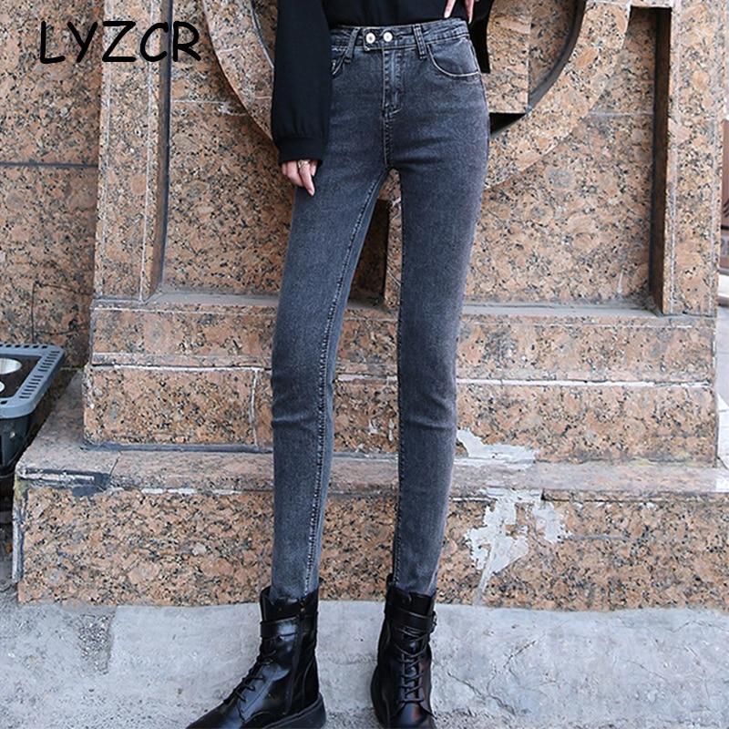 Taille haute Jean Slim Femme 2020 Denim Femme Jean avec taille haute femmes Slim Stretch Denim maman Jean Femme crayon pantalon