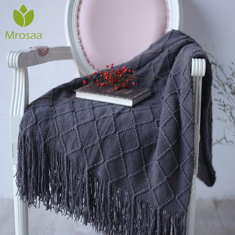 127x210cm cálido nórdico tejido mantas de hilo en las camas sofá Plaid viaje TV Nap mantas suave tapiz a cuadros camas de toalla