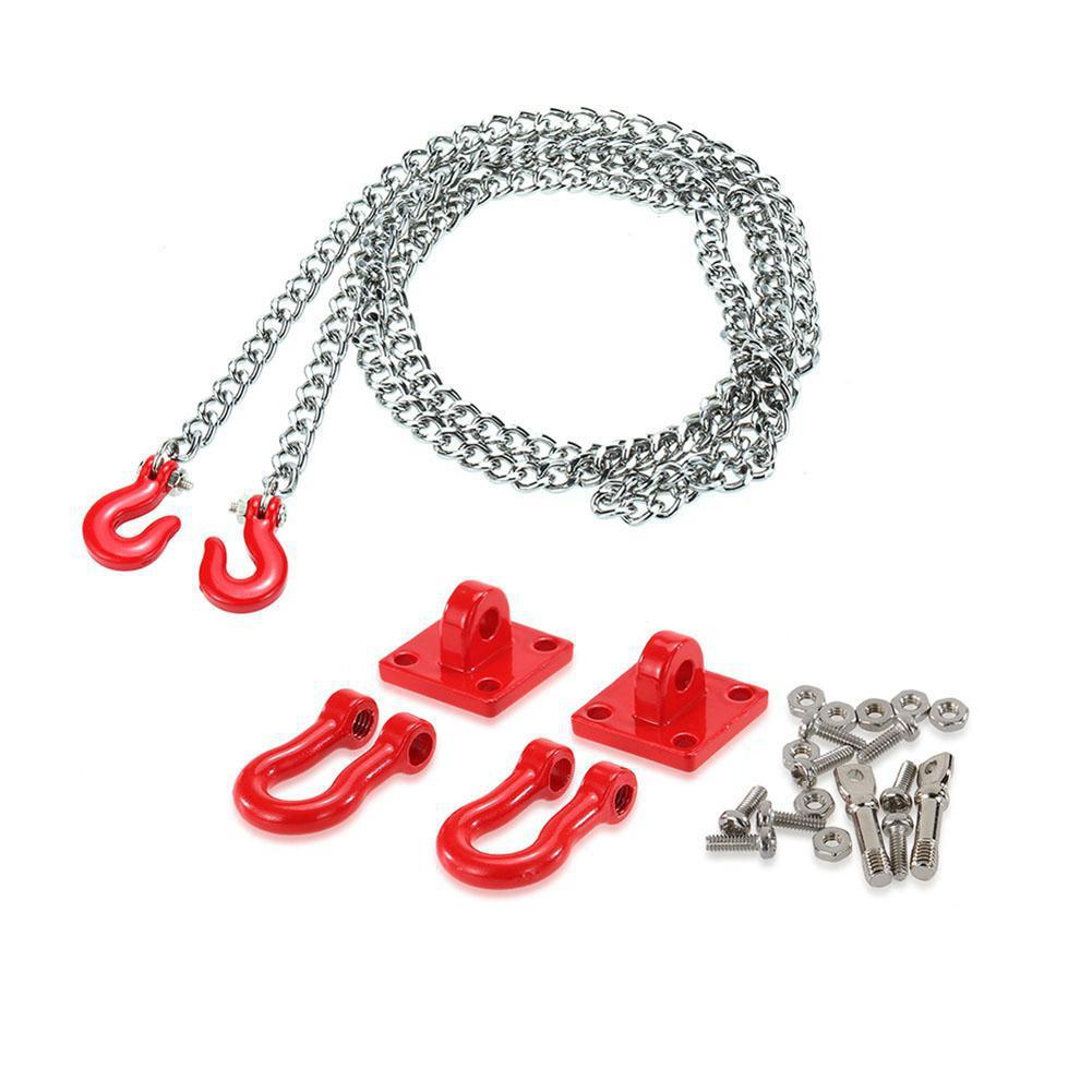 Металлический буксировочный крюк и цепь для прицепа комплект для RC автомобиля 1/10 Traxxas Axial SCX10 Tamiya CC01 RC4WD D90 RC Рок Гусеничный 110 аксессуары