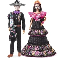barbie 2021 dia de muertos barbie ken doll with calavera face paint wearing traditional embroidered dress doll for girls gift