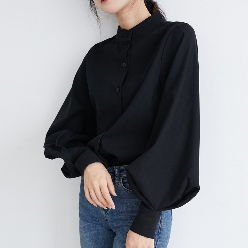 Solid Vintage Blouse Top Shirts Big Lantern Sleeve Womens Autumn Single Breasted Stand Collar Office Work