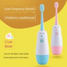 Elektryczna szczoteczka do zębów dla dzieci miękka szczoteczka do zębów z włosia ultradźwiękowa kreskówka wodoodporna elektryczna szczoteczka do zębów