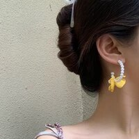 mihan s925 needle fashion jewelry yellow flower earrings sweet design summer spring simulated pearl earrings for girl lady gifts
