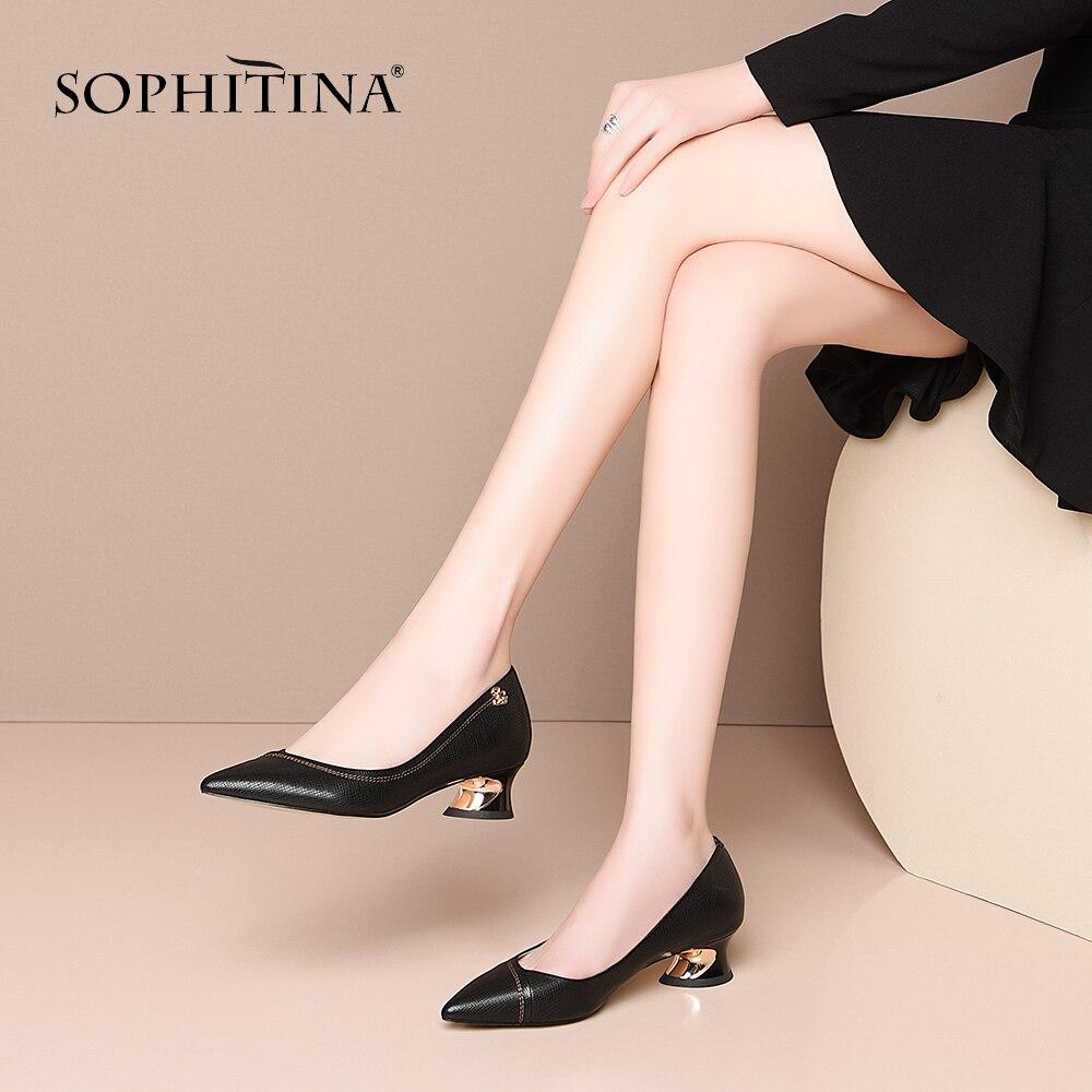 SOPHITINA Commute Pumps Women Fashion Metal Decoration Concise Profiled Heels Shallow Black Pumps Large Size Shoes Women SO506