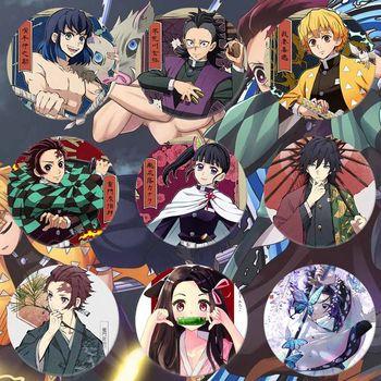 1 PC Anime Perimeter Tinplate Badge Ghost Blade Kimetsu No Yaiba Kamado Tanjirou Pin Button Brooch Icon Collection Badge