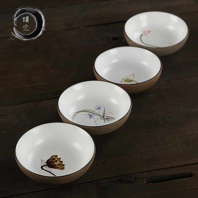 Ceramic Kung Fu Tea Set Jingdezhen Dingxian Ceramic Tea Cup Exquisite High Temperature Resistance Hand-painted Tea Cup C
