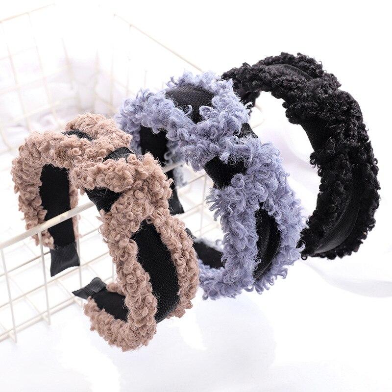 1 шт., зимние женские повязки на голову, шерстяные поперечные резинки для волос с узлом для женщин и девочек, широкая ткань, тюрбан, теплые жен...