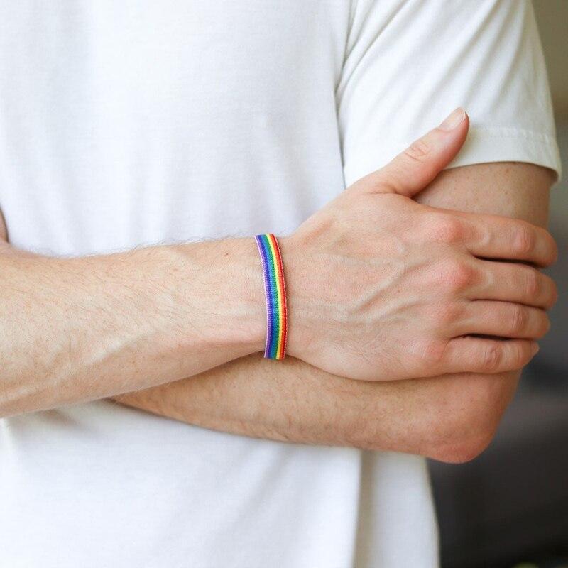 1 pçs pulseira de arco-íris pulseira de casal versátil pulseira para orgulho gay e lésbica