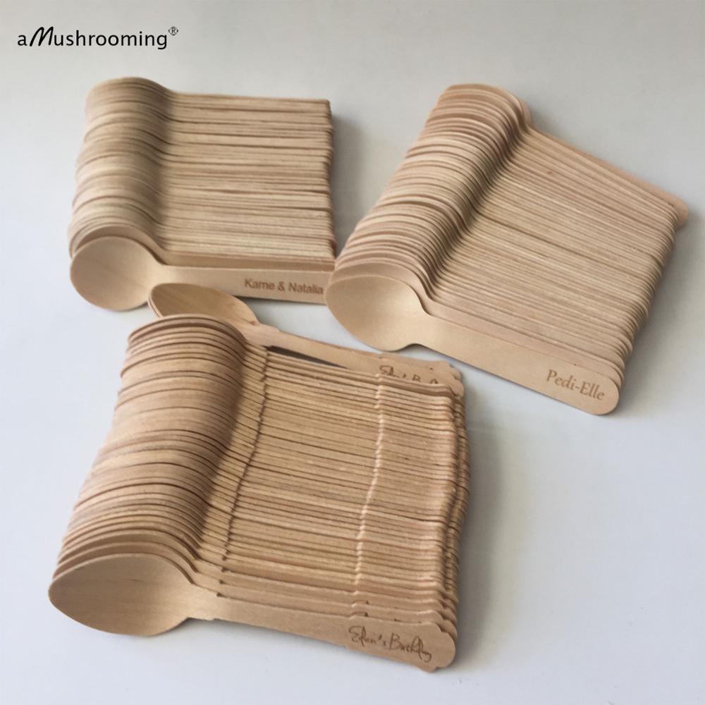 1000 قطعة خمر المتاح ملاعق صغيرة الليزر محفورة الحلوى قالب تشكيل أيس كريم ملاعق القهوة صديقة للبيئة الخشب بالجملة