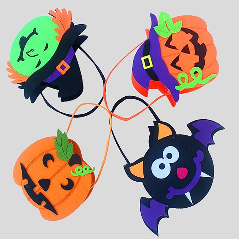 Multicolor bolsa de caramelos de Halloween Premium no tejida bate bruja calabaza caramelo bolsa de bolsa truco o tratar bolsa de fiesta suministros