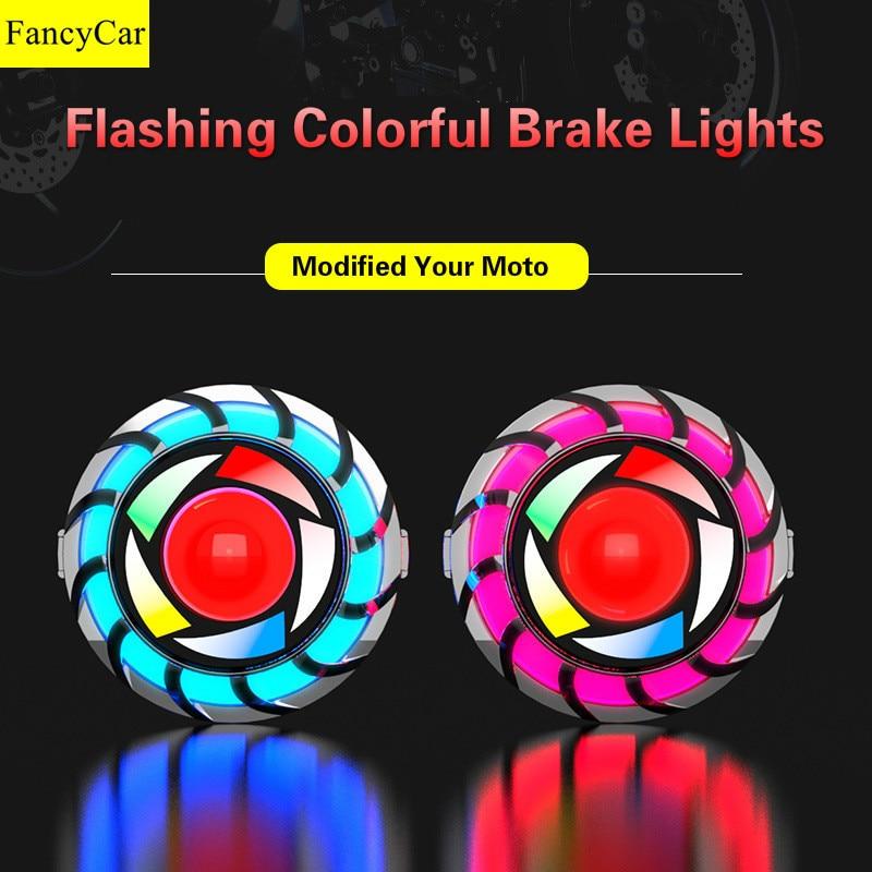Светодиодсветильник лампа для мотоцикла, задний фонарь, безопасная сигнальная лампа, красочный глаз ангела, электрические автомобильные м...