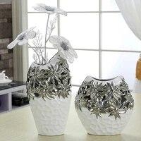 simple electroplating hollow ceramic vase porch wine cabinet secoration home crafts living room flower vase decoration