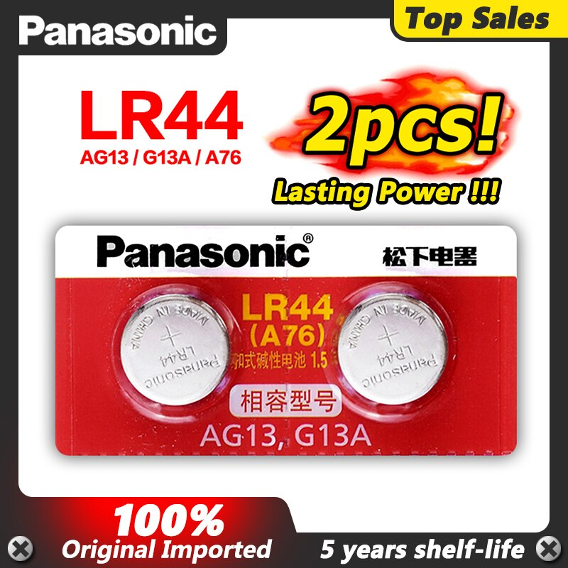 Panasonic 2 uds LR44 AG13 LR 44 Pilas reloj botón monedas baterías...