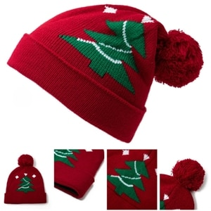 Soft Children Christmas Tree Woolen Hat Santa Knitted Woolen Cap Xmas Party Creative Gift for Boy Girl Aged 1-8 Years