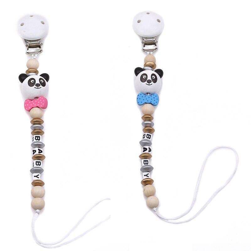 2019 bebé Clip chupete Cadena de chupete forma de Panda hecho a mano lindo colorido cuentas Clip para chupete bebé chupete para bebé chico