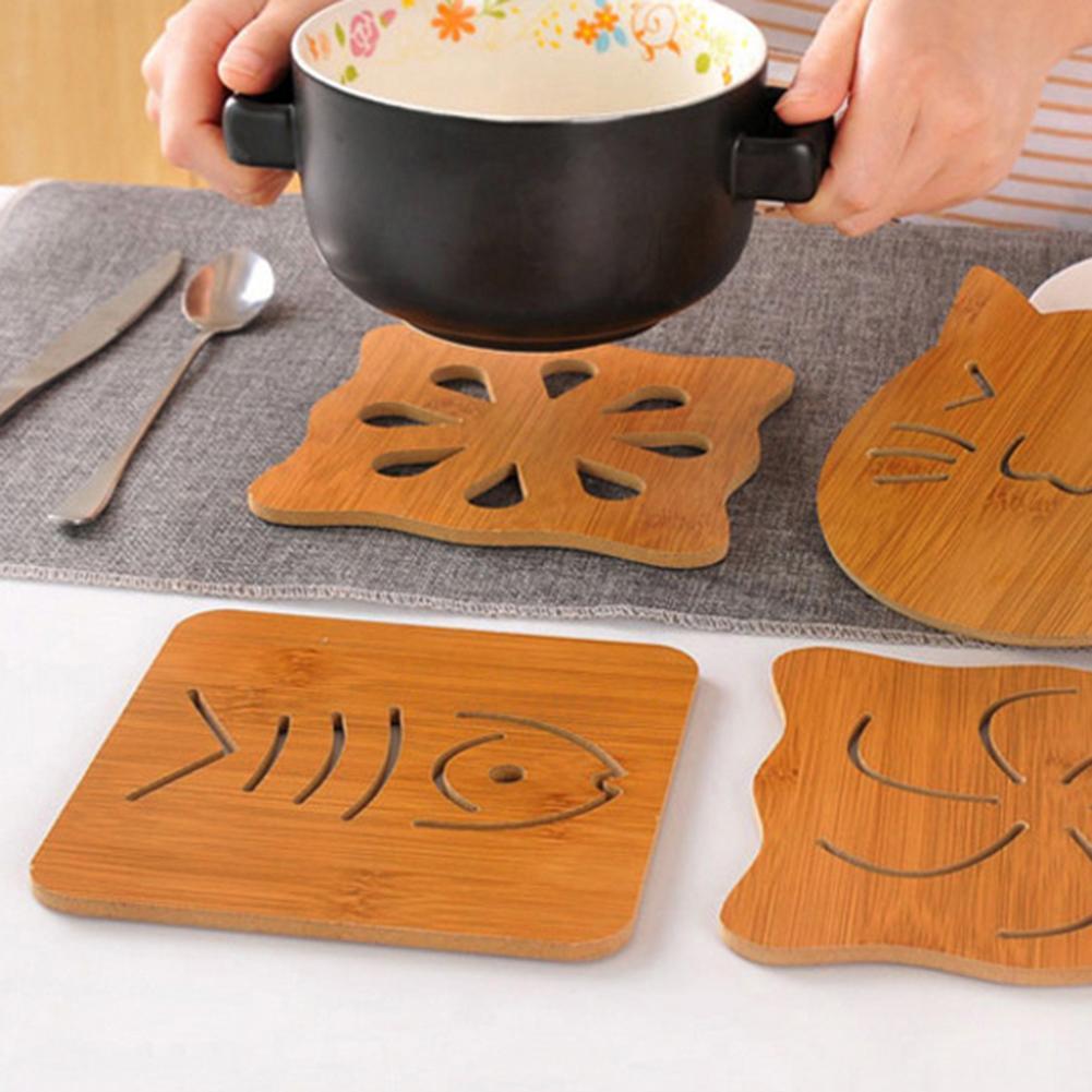 Estera de mesa hueca de bambú, mesa de comedor, gatos, estampado de búho, posavasos huecos, posavasos, almohadilla resistente al calor, posavasos, posavasos