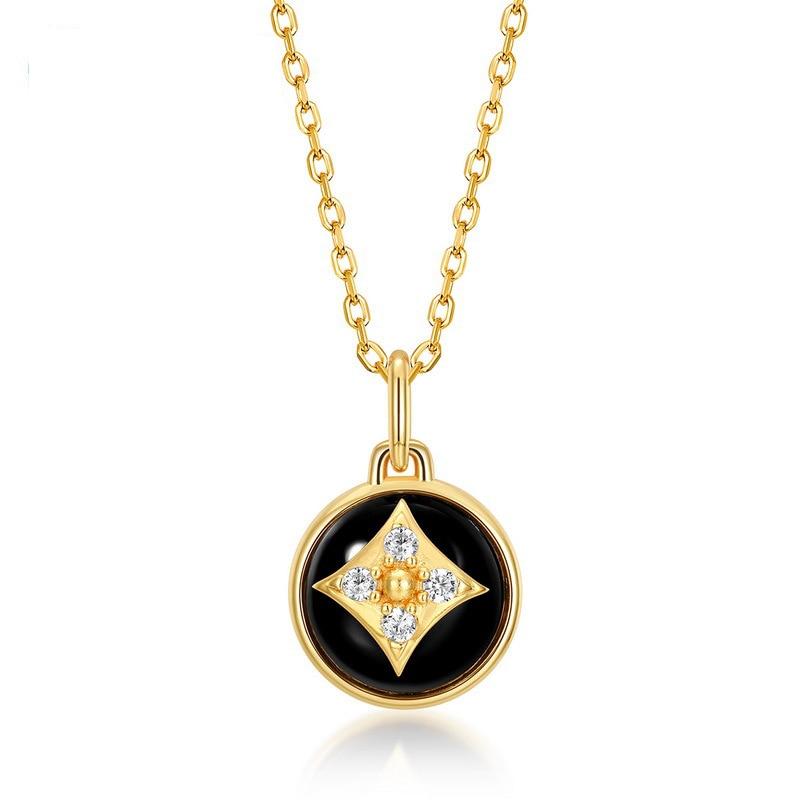 S925 الاسترليني قلادة فضية المؤنث كلاسيكي أسود قلادة عقيقة بسيطة أربع أوراق عقد بشكل برسيم مجوهرات