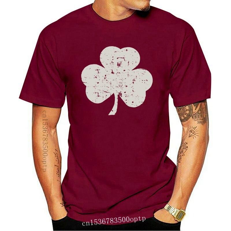 New funny t shirts USA SCREEN PRINTED Retro Green Irish Distressed Shamrock T-shirt St Patricks Day Mens Ireland Pride