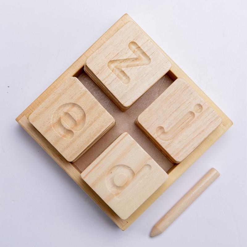 Brinquedos do bebê aprendizagem precoce montessori alfabeto de dupla face groove placa de prática crianças aprendizagem de madeira brinquedos placa