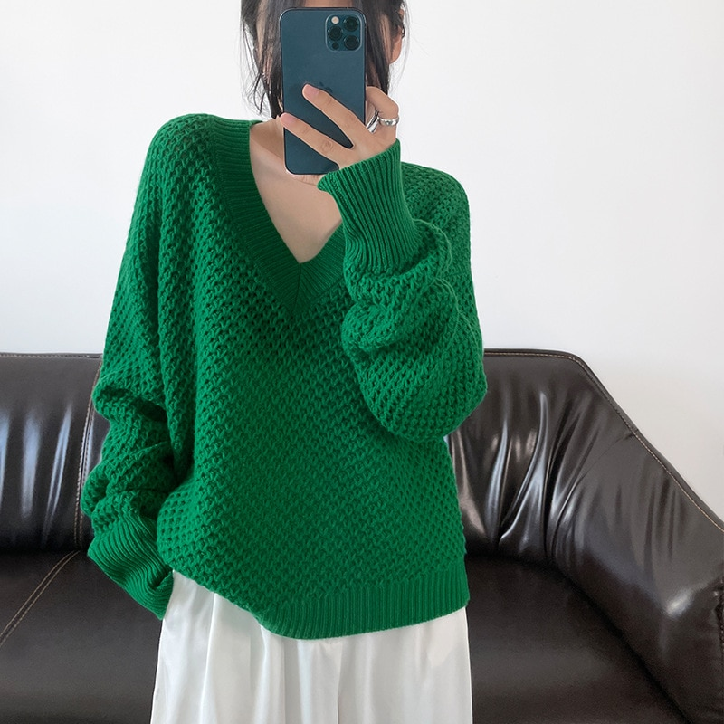 Shuchan Hollow Out Wool Knit Sweater Pullover Autumn Winter New 2021 V-Neck Women Clothes Korean Fashion Warm Tops enlarge
