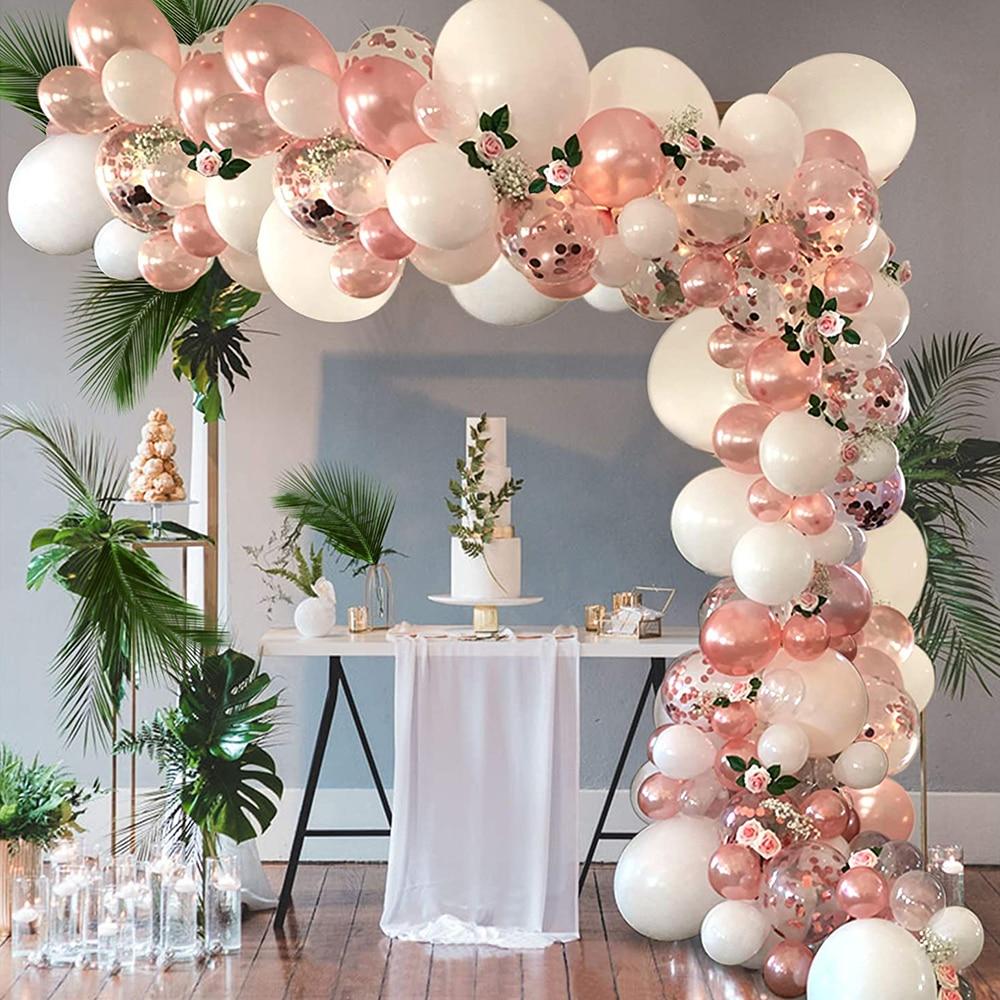AliExpress - Rose Gold Balloon Arch Garland Kit Clear Premium Latex Balloons Wedding Bridal Baby Shower Birthday Bachelorett Party Decor