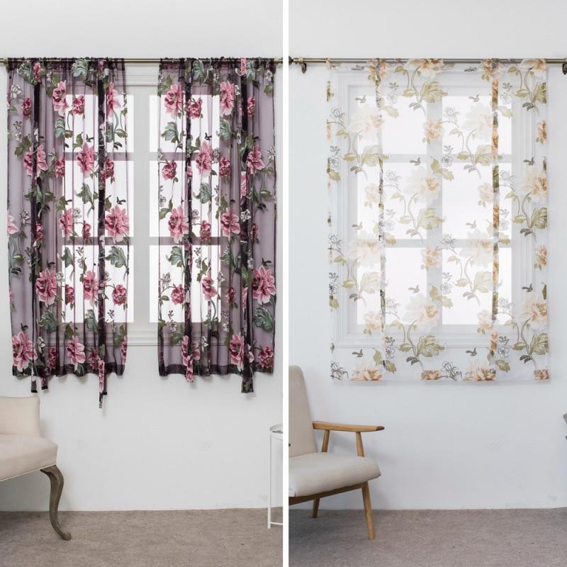 Borboleta flor tipo roman cortinas curtas sala de estar cozinha queimado flor tule semi-sombreamento