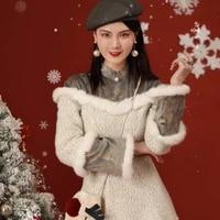 remark cheongsam winter 2020 new young girl winter thickening modified dress light snow rabbit