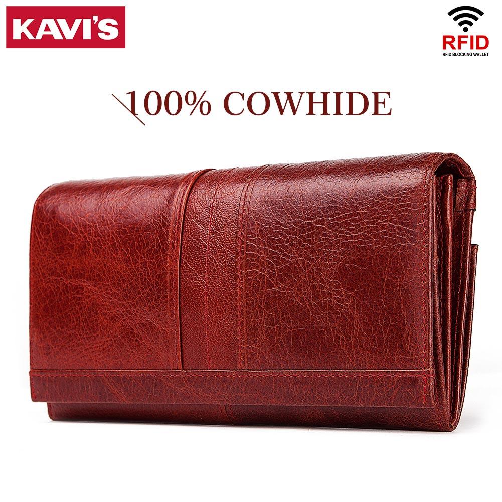 KAVIS جلد طبيعي المرأة طويلة محفظة الإناث براثن المال محافظ حقيبة يد مفيد جواز سفر walet ل هاتف محمول حامل بطاقة