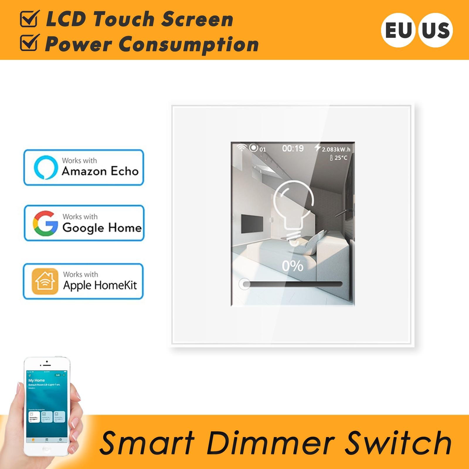 Trabalho com Apple Dimmer Inteligente Wifi Interruptor 220v 110v Homekit Alexa Google Assistente Casa ue Eua Lcd