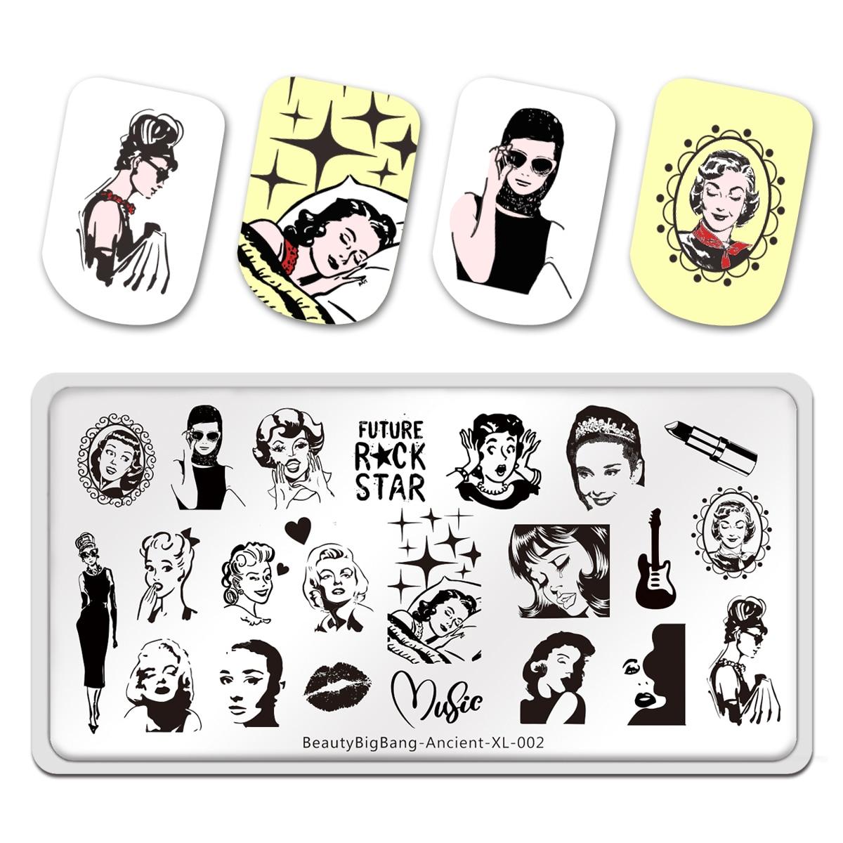BeautyBigBang, placas de estampado Future Rock Star, bonita imagen para mujeres, XL-002 antiguas de 12*6cm, molde de plantilla para decoración de uñas de acero inoxidable