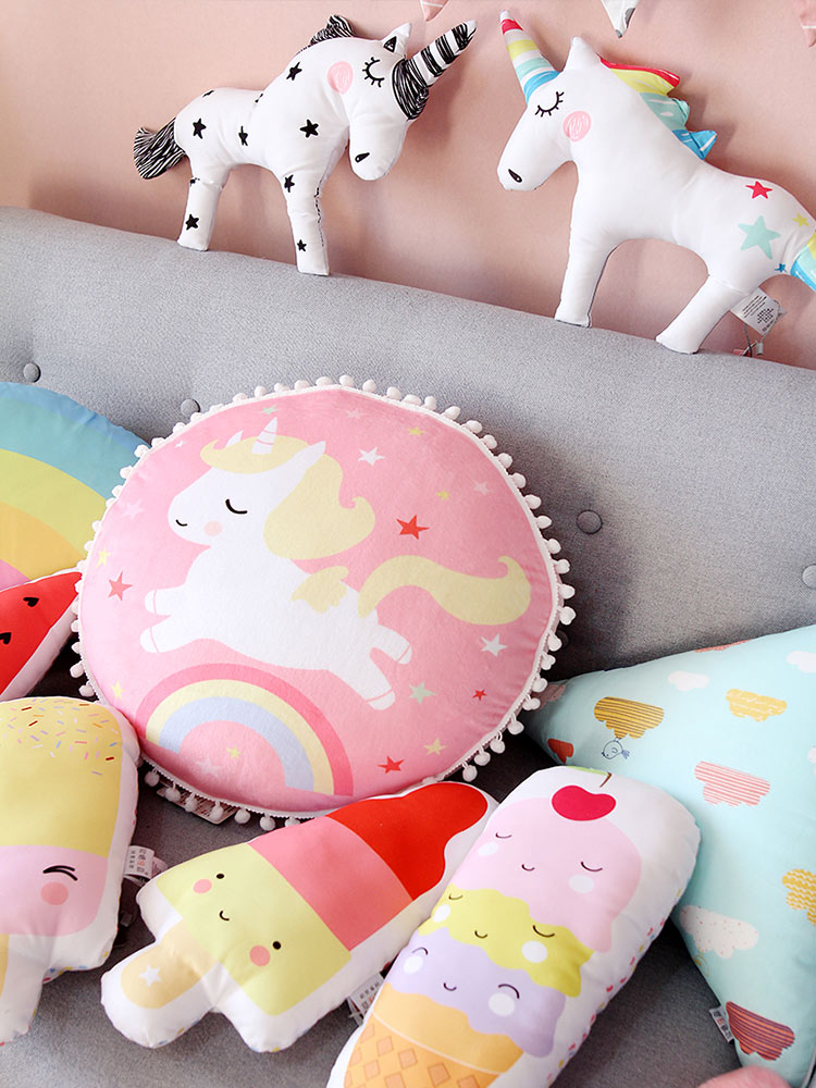 Almohada de cojín de unicornio para decoración de dormitorio de bebé, decoración de helados, decoración de unicornios, almohada para decoración de habitación de bebé