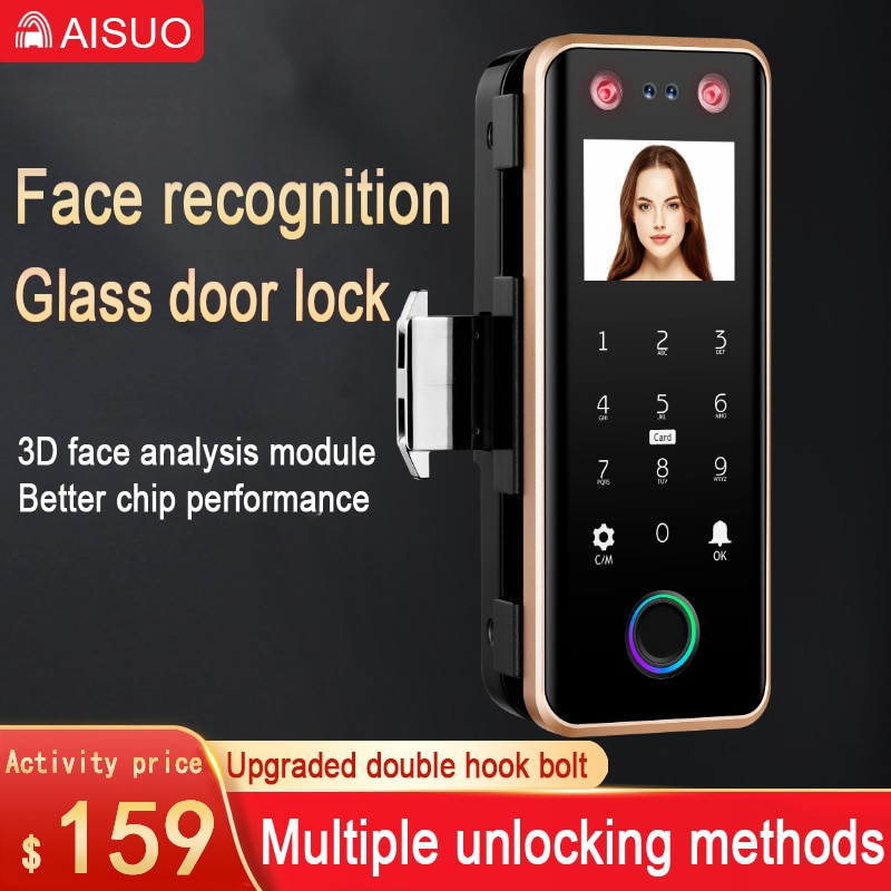 Promo Glass door lock face recognition with camera palm print fingerprint password magnetic card office smart glass door lock