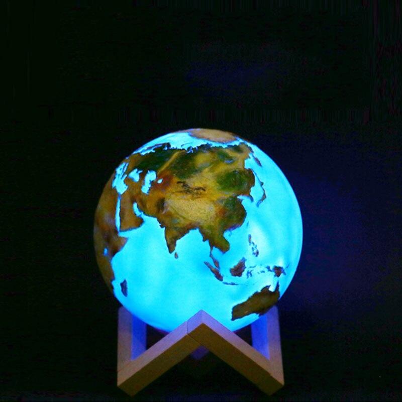 3D Print Lamp Moon Earth Lamp 16 Colors Change LED Night Light for Home Decoration Ocean 3D Table La