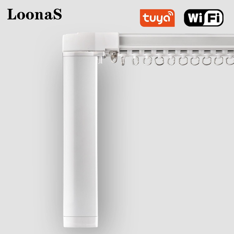 Устройство для штор Loonas Tuya, Wi-Fi, умный дом, электрический двигатель, регулируемая длина, поддержка Alexa и Google Assistant