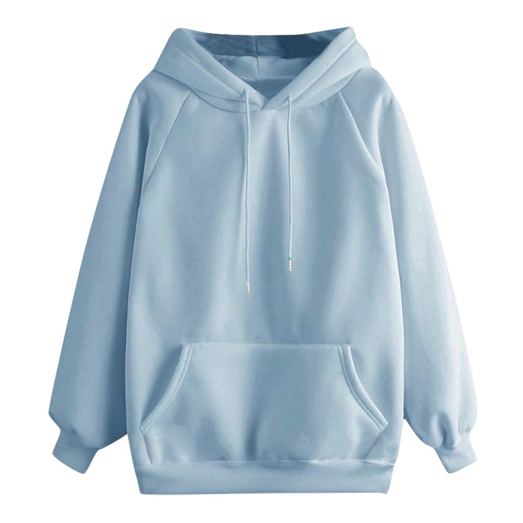 Kadın rahat düz renk kapşonlu cep uzun kollu kazak Sweatshirt 2021 sonbahar Harajuku kore Худи Худи Оверсайз # P2