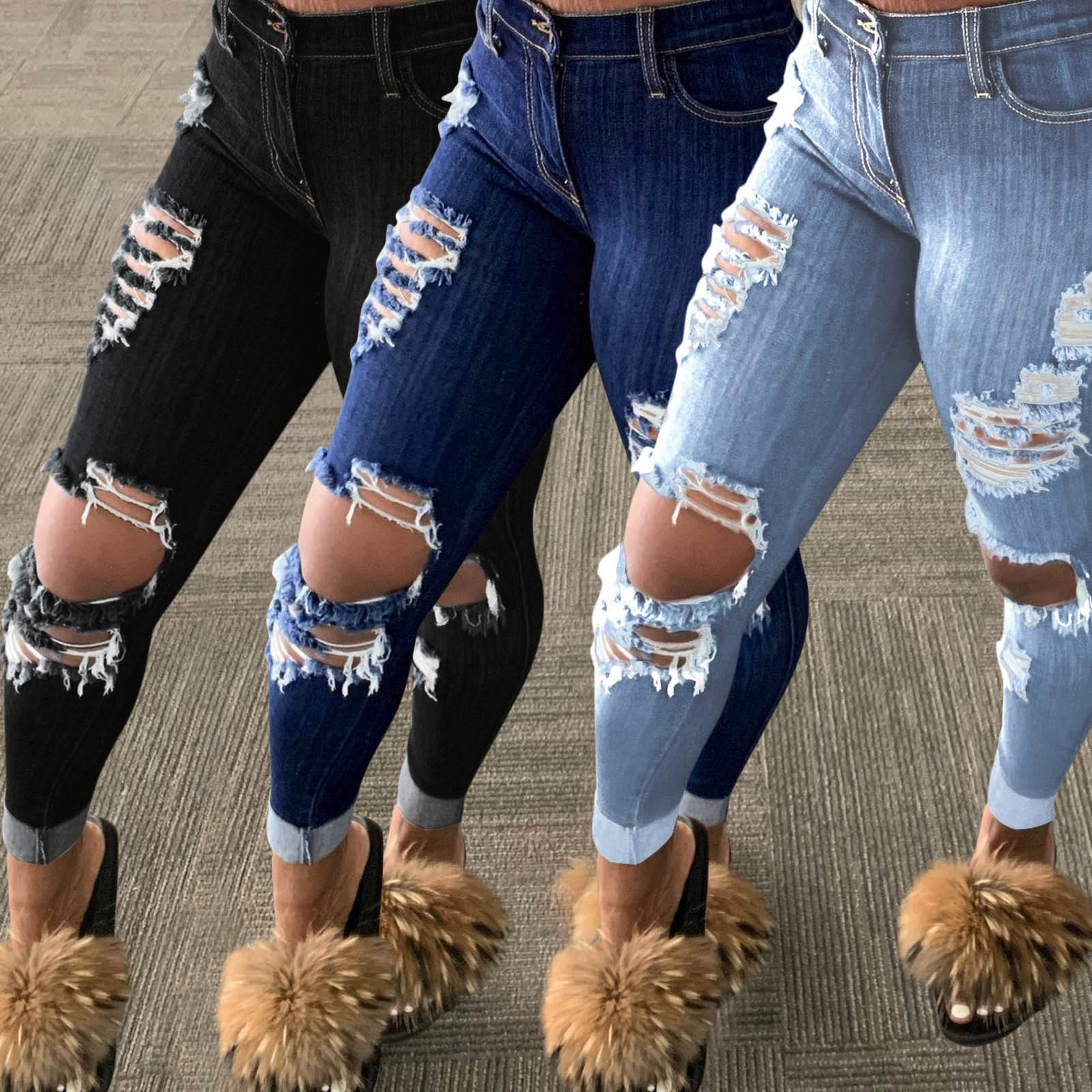 TELOTUNY Ladies Summer Jeans Popular Ripped Fringed Trousers Casual Fashion Stretch Tight Long Pants