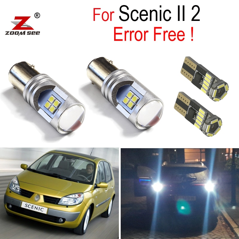 6pc  White LED Exterior Parking Lights + License plate lamp + Reverse back up bulb for Renault Scenic 2 II MK2 (2004-2009)